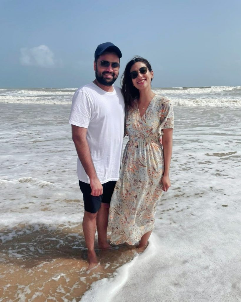 Rabab Hashim Spends A Relaxing Sunday With Her Husband At Beach