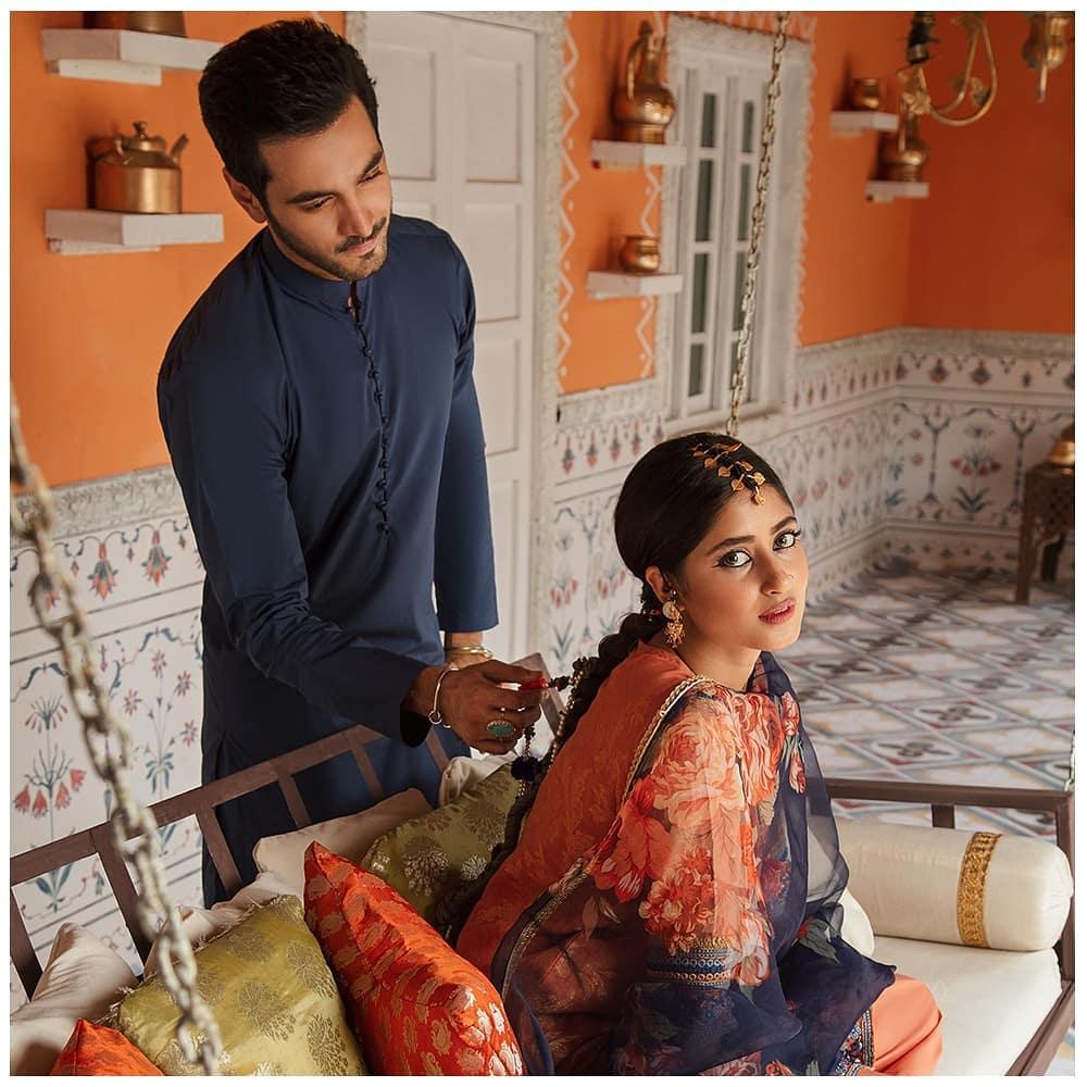 "Cross Stitch Eid Collection ""Rim Jhim"" Featuring Sajal Aly And Wahaj Ali"