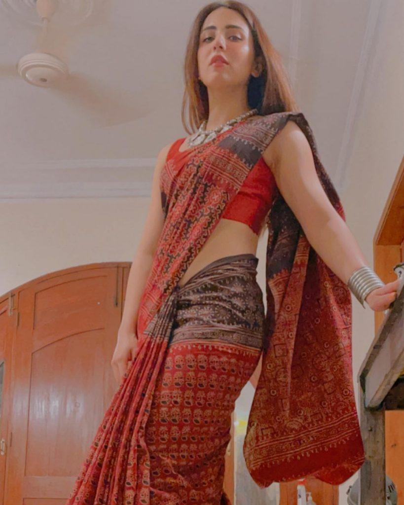 Ushna Shah Looks Super Chic In Saree