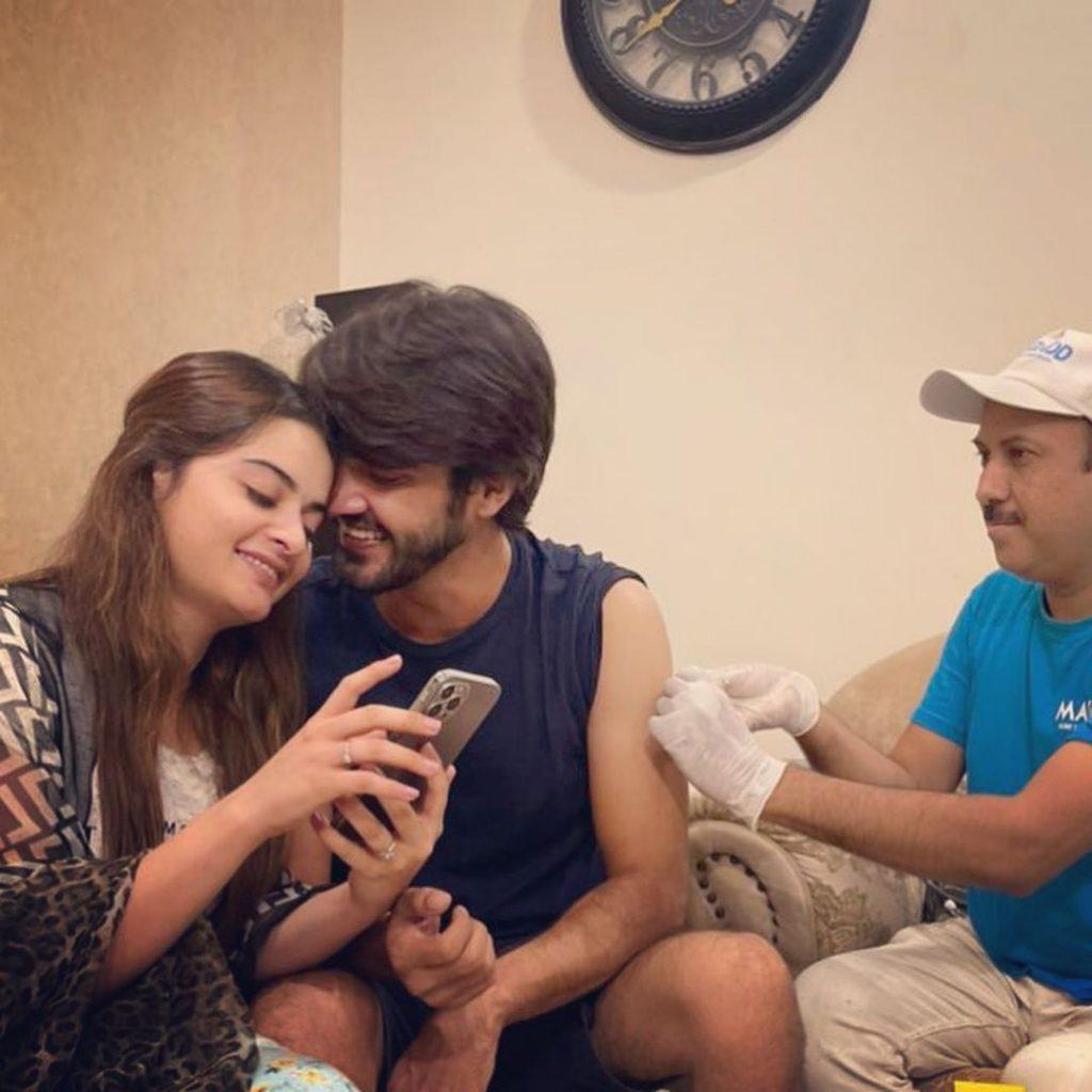 Ahsan Mohsin Ikram Gets Vaccinated Alongside Minal Khan