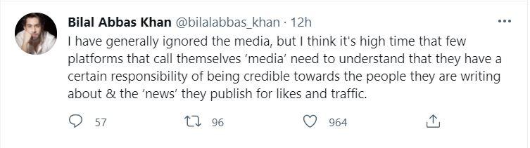 Bilal Abbas Khan Slams Media Outlets And Publications