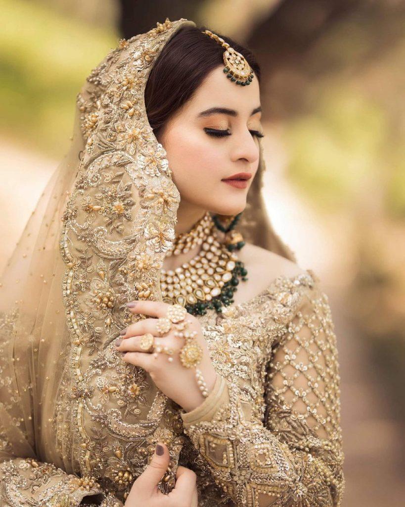 Aiman Khan Looks Drop Dead Gorgeous In Gold Bridal Ensemble