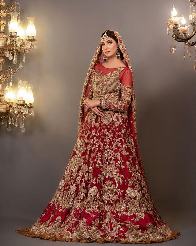 Nazish Jahangir Looks Regal In A Deep Red Bridal Ensemble