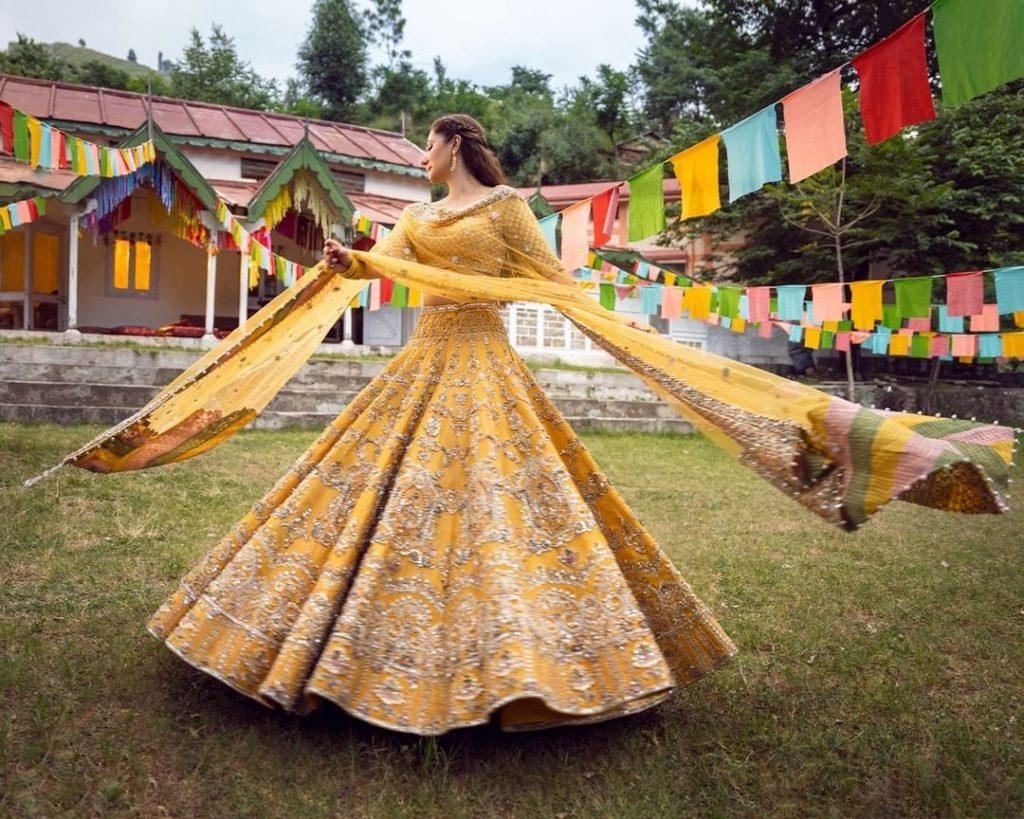 Mahira Khan Stuns In Yellow Bridal Lehnga Choli By Faiza Saqlain