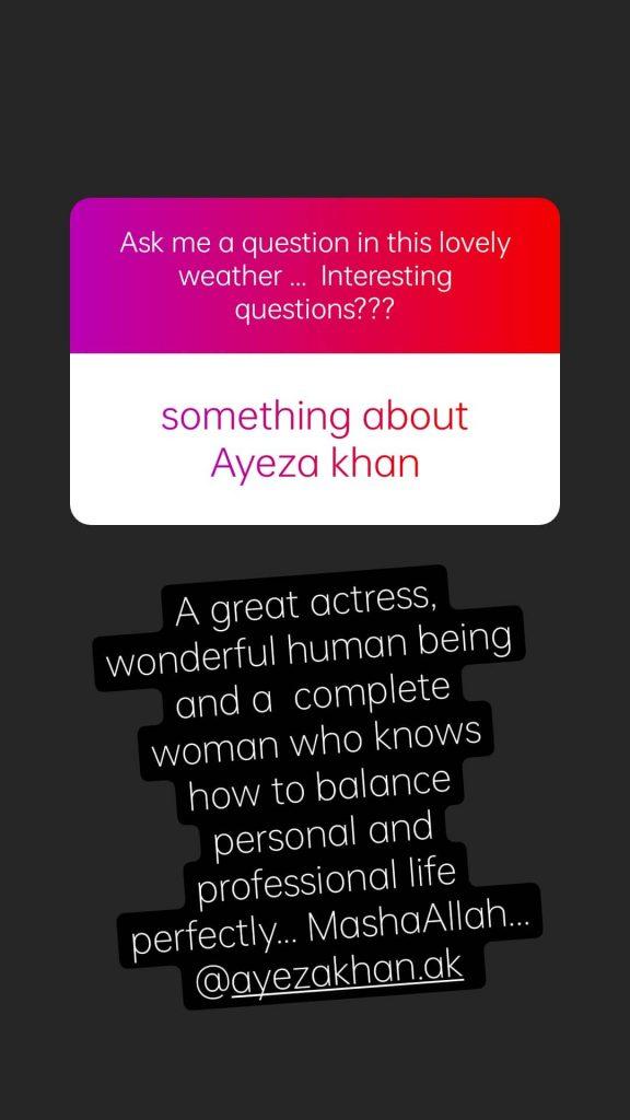 Sami Khan Praises Ayeza Khan