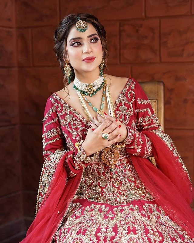 Saboor Aly Dazzles In A Gorgeous Red Bridal Ensemble By Ali Xeeshan