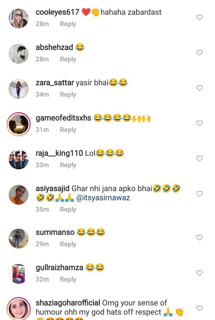Yasir Nawaz Took A Hilarious Jab At Wife's Viral Video