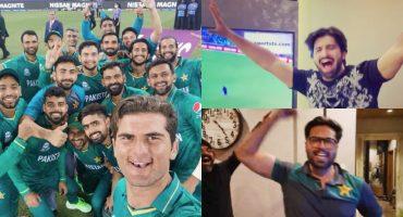 Pakistani Celebrities Enjoying Pakistan's Victory Against India